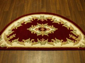 HALF MOON 100% WOOL RUGS NEW SUPER THICK PILE 67CMX137CM RED/CREAM LOVLEY RUGS